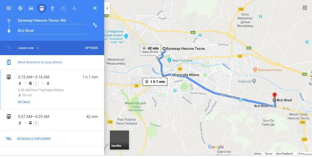 Google Transit je sada moguće koristiti i u Nišu; Foto: Google Maps Transit, Screenshot