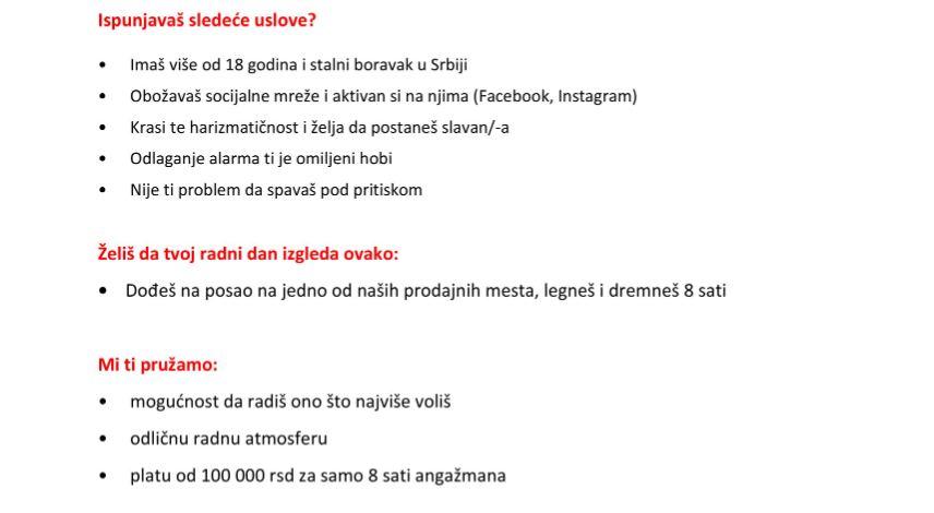 Oglas za posao u Srbiji; Foto: Printscreen Poslovi. Infostud