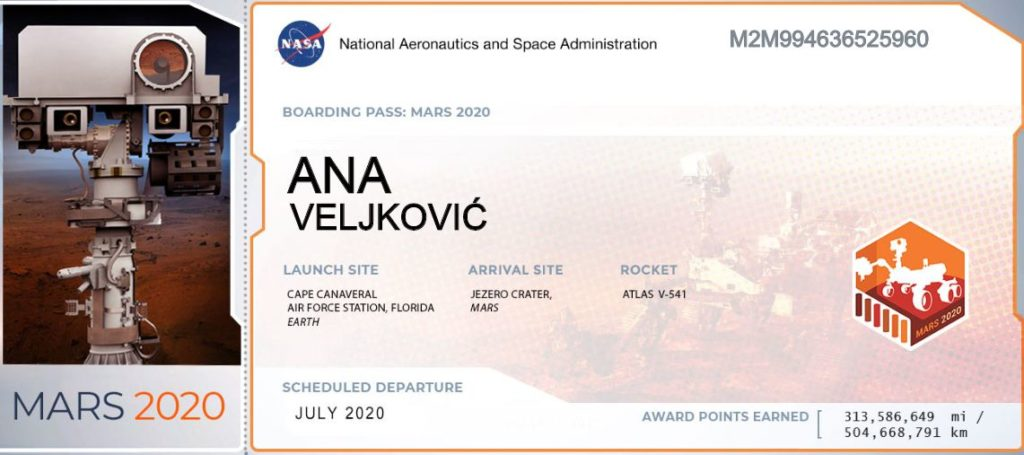 Ovako izgleda karta sa vašim imenom za putovanje na Mars