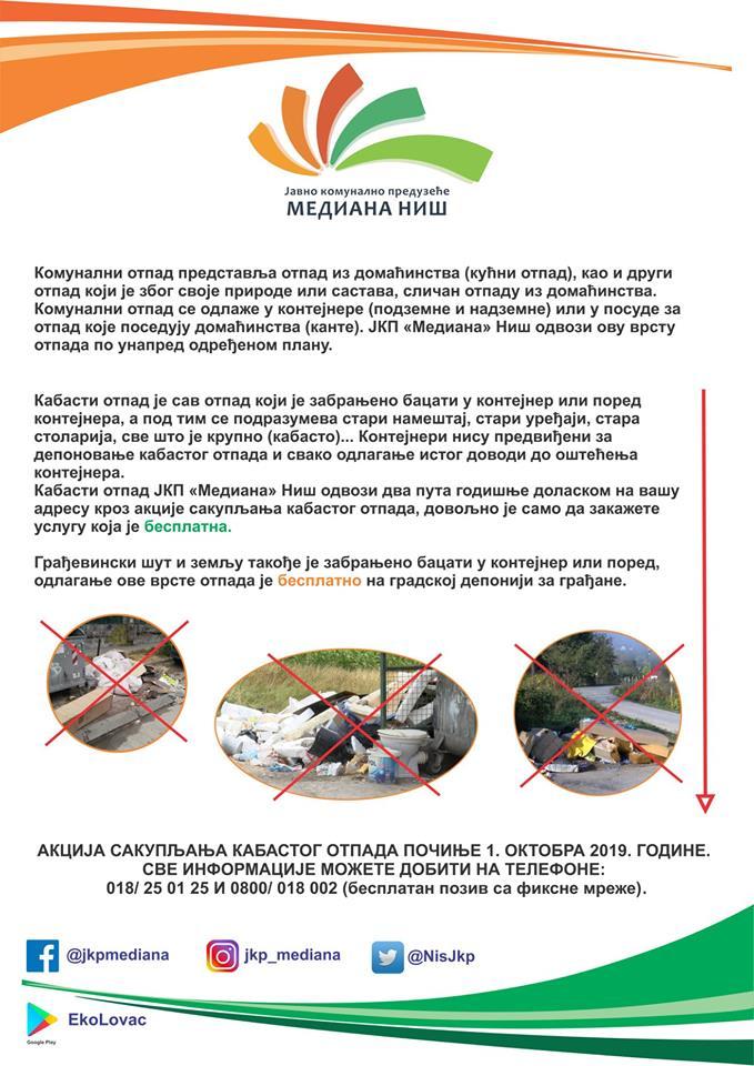 Akcija odvoza kabastog otpada počinje 1. oktobra