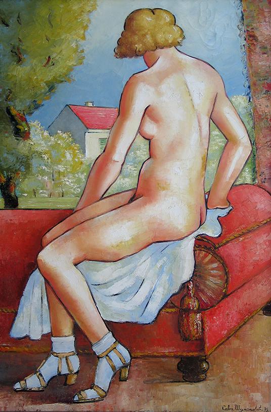 Sava Šumanović, Akt na crvenoj sofi, 1935.