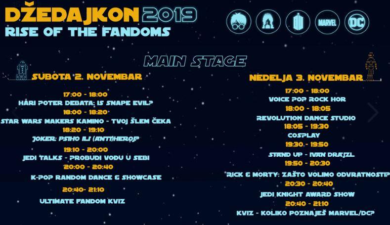 Program festivala Džedajkon